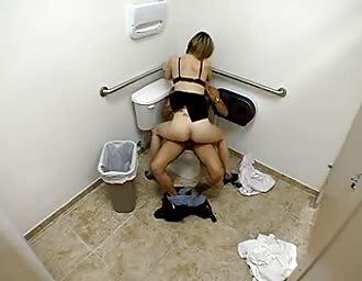 Amateur slut service a penis in public toilet