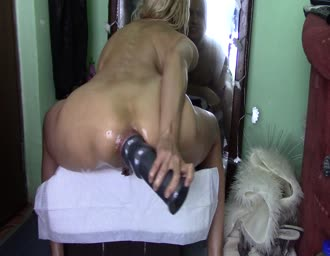 Dildo in booty and gushing vagina