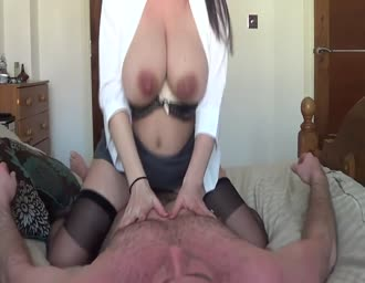 Lactating MILF riding her fiance