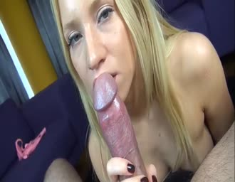 yummy golden-haired sucking me till a happy end