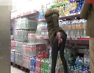 German blonde getting screwed at a supermarket