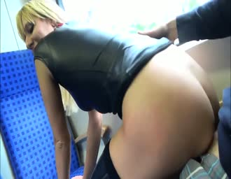 humping with a hot blonde broad in a train