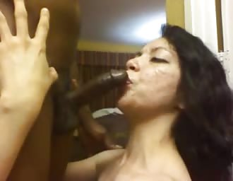 Rough oral sex with Latin chick