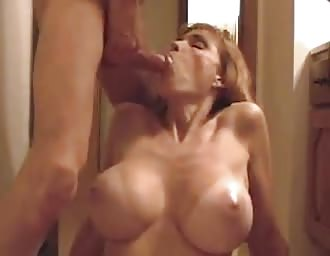 MILF with big titties mouthfucked and jizzed