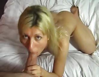yummy blond masturbates and eats dick