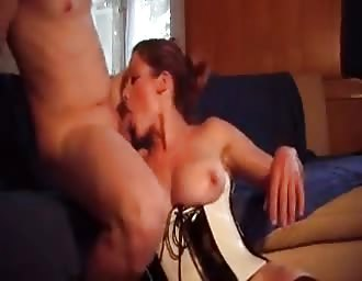 Stacked light brown haired sexed hardcore on sofa