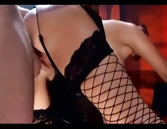 attractive red head fucking in stockings and boots
