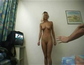 Horny babe posing nude