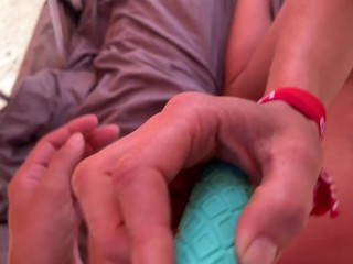 sweet golden-haired and Hot Brunette have a threesome in a rooftop tent with stud